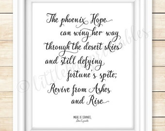 The phoenix hope can wing her way, printable wall art, Miguel de Cervantes, quote about hope, black and white, Don Quixote, gift for friend