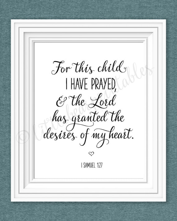For this child I have prayed printable nursery wall art the | Etsy
