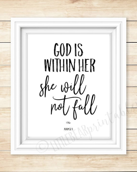 God Is Within Her She Will Not Fall Bible Verse Quote Etsy