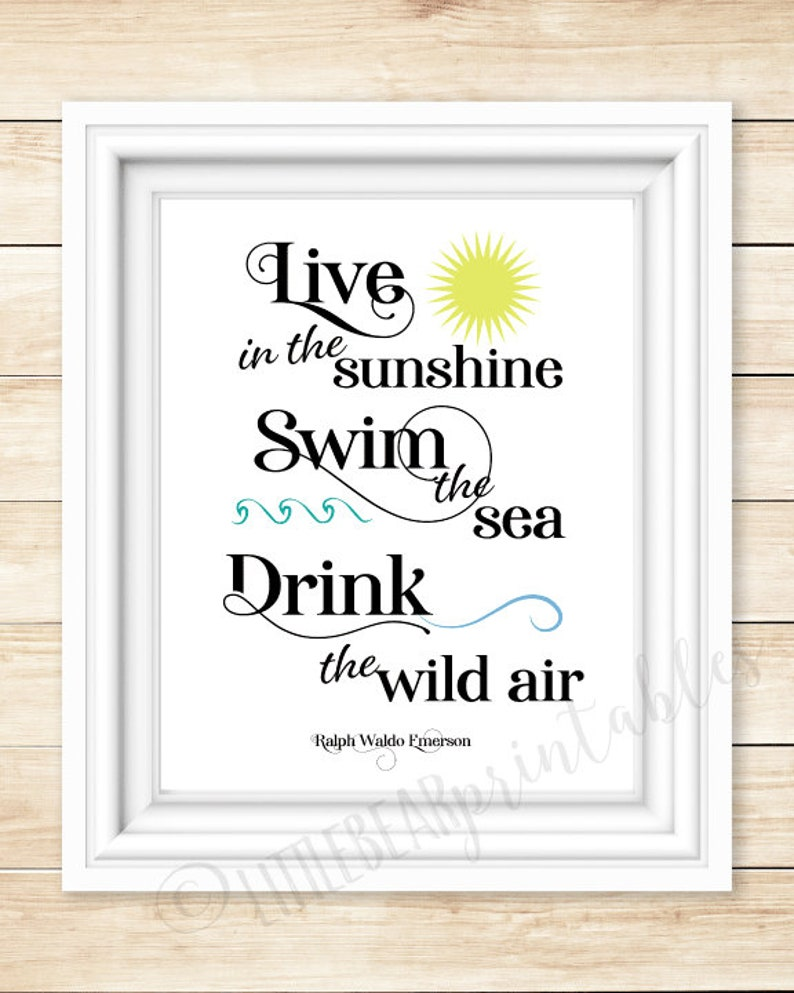 Ralph Waldo Emerson Live In The Sunshine Quote Wall Art Etsy