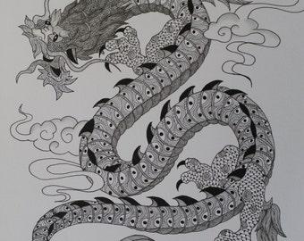 Zentangle dragon Etsy
