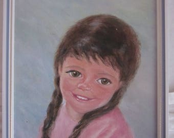 Little Girl small vintage framed cornish painting rosealine andrews