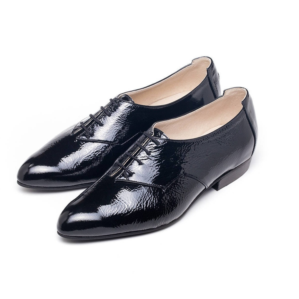 Sale Women oxford shoes black leather