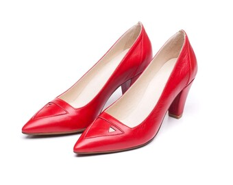 Sale 40% off! Wedding shoes, red shoes, women shoes, women red pumps, red heels, handmade leather shoes/ Saint Germain model