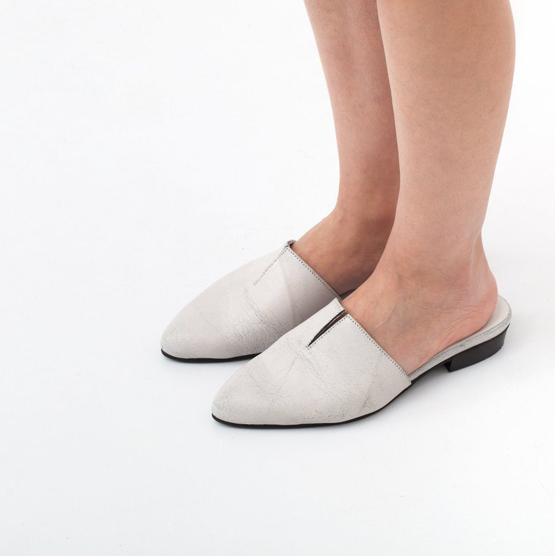 white clogs handmade leather shoes white mules leather mules women mules white shoes marble texture women shoes Yancho model.