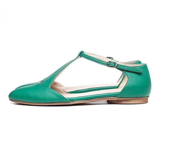en plates Verts cuir sandales chaussures fait chaussures femmes sandales Ywzgx4nOz