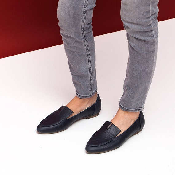 Sale Women Black Shoes Leather Shoes Leather Moccasins Etsy