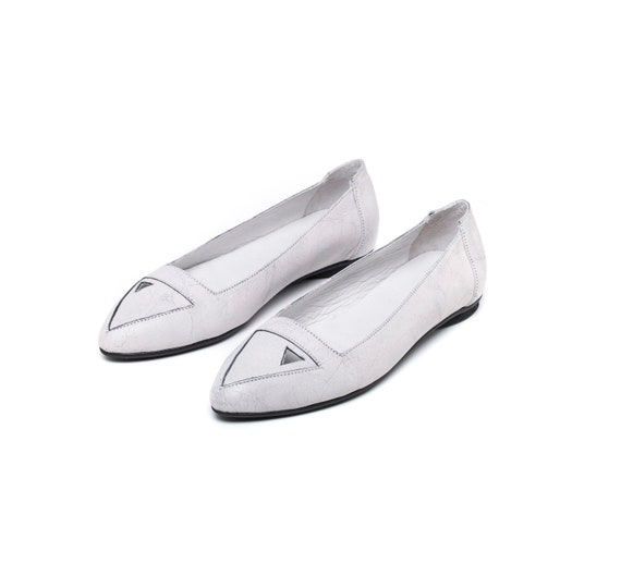 White flats Leather shoes white shoes