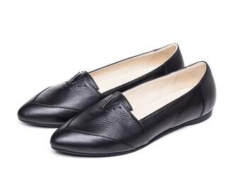 Sale 40% off! Black flats, women's shoes, black shoes, evening shoes, women black shoes, handmade leather shoes. Franz model.