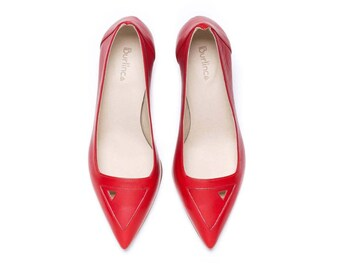 Sale 40% off! Red pumps, red shoes, women shoes, women pumps, red heels, evening shoes, handmade leather shoes, Saint Germain model