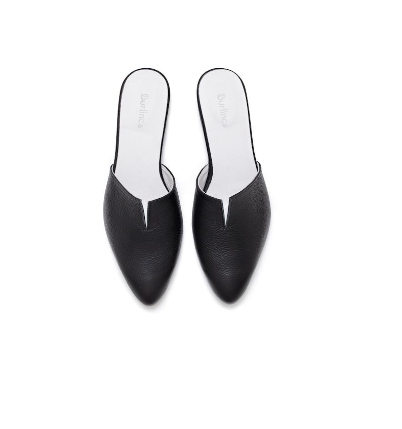 Black mules leather clogs women shoes
