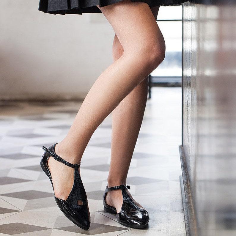 0b7011d0586 Black lather sandals black glossy sandals womens black