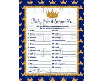 Royal Baby Shower Games Prince Blue Word Scramble Game