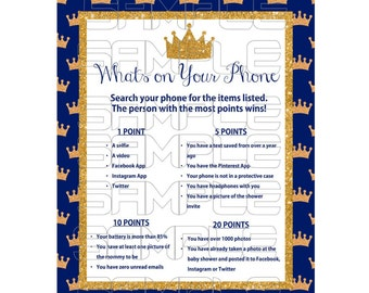 Royal Baby Shower Games Prince Baby Shower Royal Blue Baby Etsy