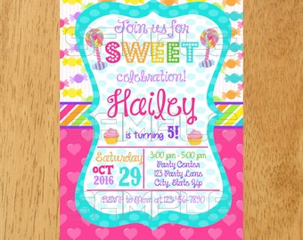 Candy Invitation, Candy land invitation, Candy invite