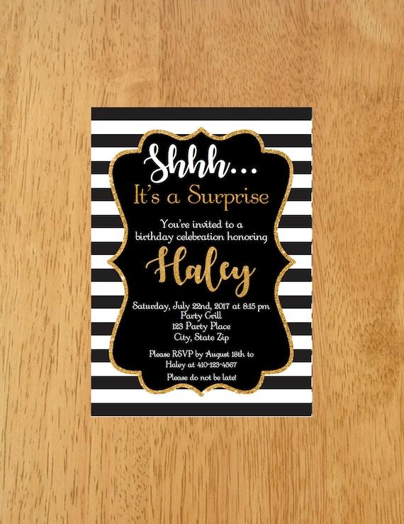 Surprise Birthday Invitation Black White Gold