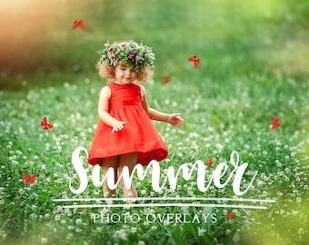 49 Summer photo overlays, photoshop overlays, bubble overlays, sun lens flare overlays, sunset overlays