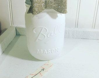 Chalk white mason jar ,Gold bow and  white , glitter , Bows, Office decor ,home decor, Birthday, Wedding , Bridal shower