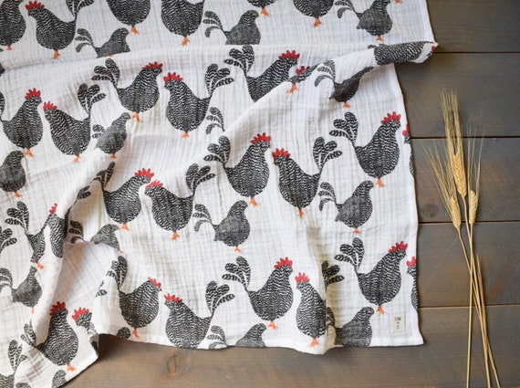 Flannel cotton SwaddleReceiving Blanket Chicken Rooster Rise and Shine
