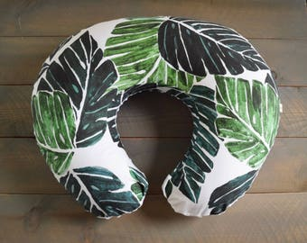 nursing pillow cover : monstera palm , jungle leaf nursing pillow cover, nursing pillow slipcover leaves