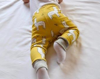 baby toddler leggings : llama alpaca mustard, yellow llama baby pants, toddler alpaca organic leggings