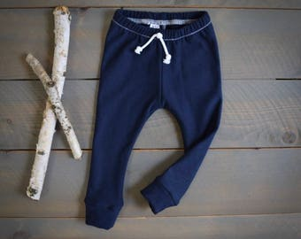 baby joggers navy, organic infant toddler sweatpants, baby leggings navy, organic sweatpants, toddler joggers, newborn navy pants