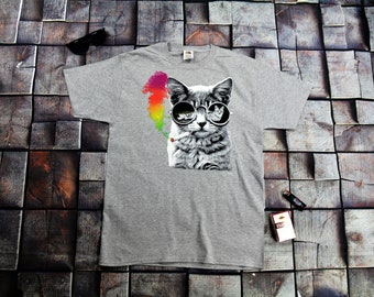 Rainbow Smoke Cat With Glasses Trendy T-shirt