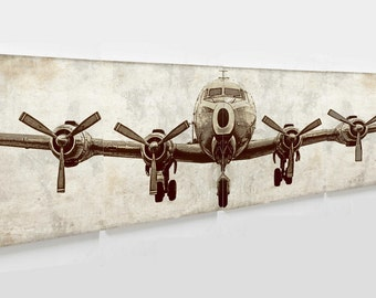 """Rustic  print  Airplane canvas painting ready for gallery wrap 24*24"""" 4 in 1  size  24*96""""/ wall decor / bedroom idea  not stretched DIY"""