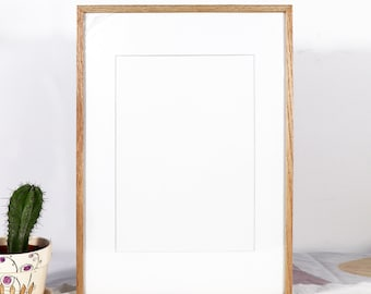Hard Wood Oak Photo Frame for wall  10x15  13X18cm A5 A4 A3 with matboard
