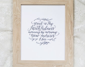 Great Is Thy Faithfulness | calligraphy print, hymn art