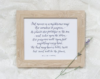 God Moves | calligraphy print, hymn art, William Cowper