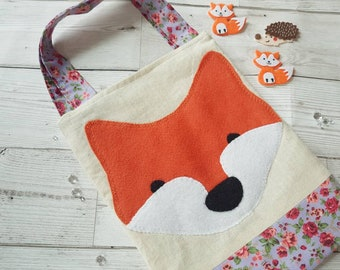 Small Fox Tote Bag Natural Cotton Fully Lined Children's Bag Girls Bag Birthday Gift Christmas Stocking Filler Holidays