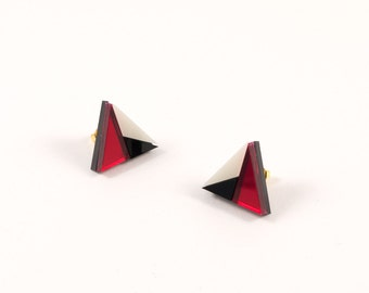 Geometric Perspex Mini Statement Earrings - Red, Black, Ivory FORM_011