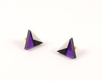Geometric Perspex Mini Statement Earrings - Purple, Black, Ivory FORM_011