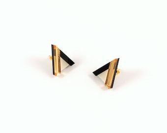 Geometric Perspex Mini Statement Earrings - Gold, Black, Ivory FORM_014