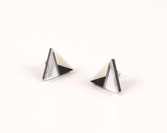 Geometric Perspex Mini Statement Earrings - Silver, Black, Ivory FORM_011