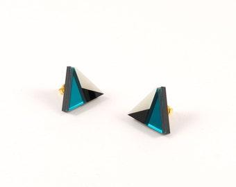 Geometric Perspex Mini Statement Earrings - Teal, Black, Ivory FORM_011