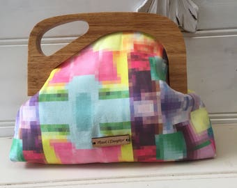 Clutch bag, medium, wooden handle magnetic closure, original pixelated design, synthetic suede fabric, assymetrical
