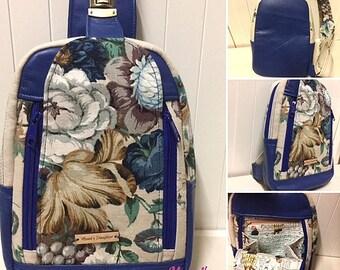 Back pack, medium, women's, asymmetrical sling bag, cross body, messenger bag, blue leather, linen, antique bronze look metal hardware