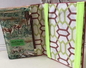 eReader cover, vintage book, pockets, red, green