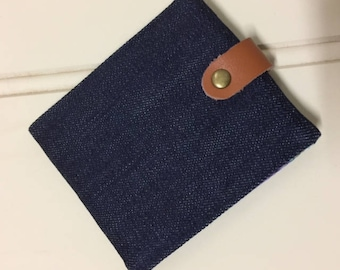 Wallet, folded, slimline, women's, denim and fabric, leather strap and metal snap