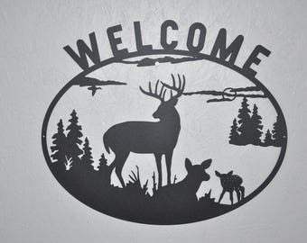 Welcome Sign Deer & Fawn