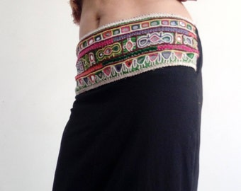 long black skirt with embroidery belt
