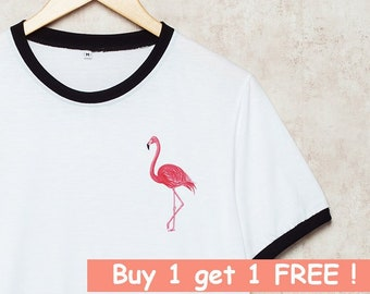 deac59628b898 Flamingo Shirts Pink Flamingo Tshirt Pocket T-Shirt Ringer Bird Funny Gift  White Size S