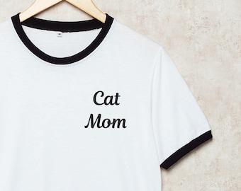 8b0e74ab0a973 Cat Mom Shirts Cats Shirt Pocket Ringer T-Shirt White T Shirt Mommy Funny  Size S