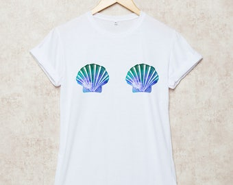 Mermaid Shirt Mermaid Shell T Shirts Summer T-Shirt Beach Mermaid Gift Grey White Size S , M , L , XL , 2XL , 3XL