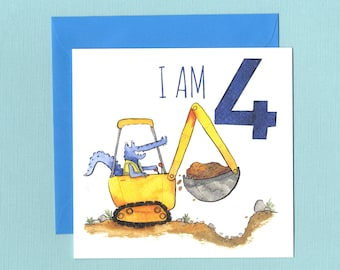 4th Birthday Digger Card