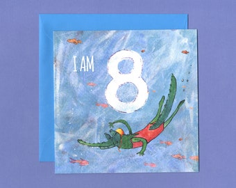 Swimming 8th Birthday Card