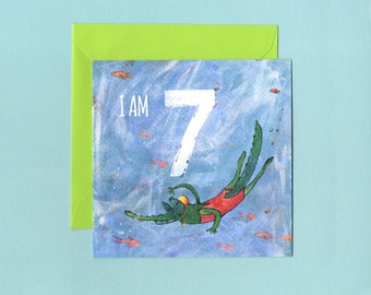 I am 7 Milestone Crocodile Birthday Card