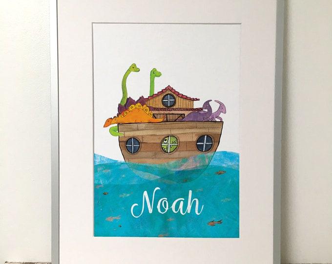 Featured listing image: Noahs Ark Dinosaur Children's Room Print